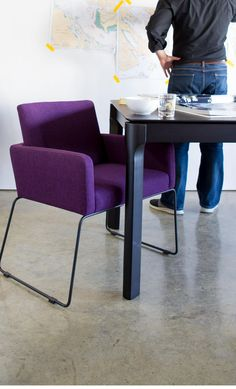 Love this purple modern chair which will add some edge as end chairs to a dining room table.