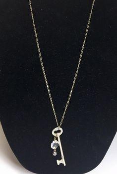 Vintage Skeleton Key Necklace with Chandelier Crystal Charm - Antique Skeleton Key Necklace - Repurposed Skeleton Key Necklace - Crystal Key Jewelry, Unique Jewelry, Skeleton Key Necklace, Chandelier, Bling, Repurposed, Etsy Shop, Pendant Necklace, Crystals