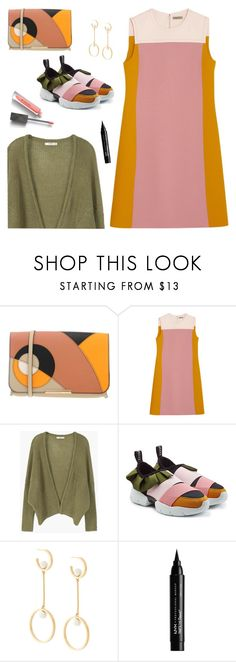 """Outfit of the Day"" by sproetje ❤ liked on Polyvore featuring Emilio Pucci, Bottega Veneta, MANGO, Chloé, NYX, Burberry, StreetStyle, ootd, colourblock and WearIt"
