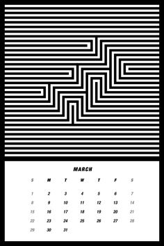 2015 Mono Calendar on Behance Illusion Drawings, Illusion Art, Print Calendar, Calendar Design, Art Optical, Optical Illusions, Painters Tape Art, Arte Linear, Mandala Drawing