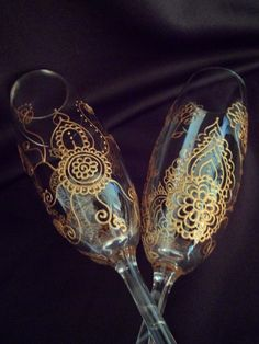 Wedding champagne toasting flutes-One of a kind glass art perfect as a gift for bride & groom with option to personalize  www.mehndiglass.com starting at $49 set of two