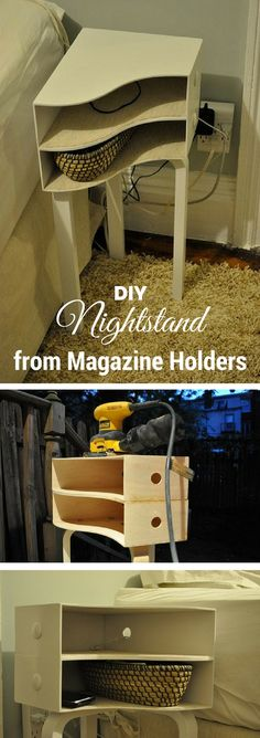 Check out how to build an easy DIY nightstand from wooden magazine holders @istandarddesign