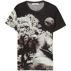 Mary Katrantzou Printed jersey T-shirt ($98) ❤ liked on Polyvore featuring tops, t-shirts, shirts, black, short sleeved, jersey t shirt, short sleeve tops, jersey tee, tee-shirt and short sleeve t shirts
