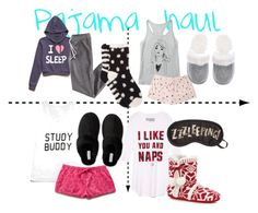 """""""Pajama haul"""" by gigicr ❤ liked on Polyvore featuring Forever 21, Victoria's Secret, Aéropostale, H&M, Free Press, women's clothing, women's fashion, women, female and woman"""