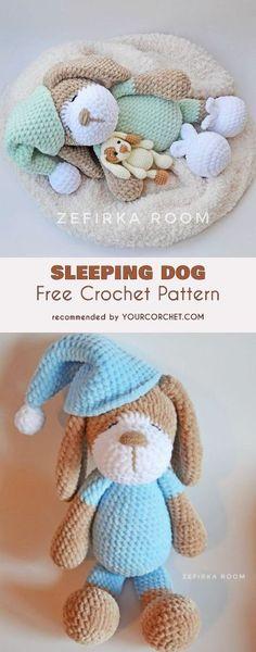 Sleeping Dog Amigurumi Free Crochet Pattern #freecrochetpatterns #amigurumipattern