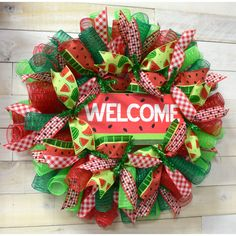 The Holiday Aisle Watermelon Summer Deco Mesh Wreath Wreath Crafts, Diy Wreath, Tulle Wreath, Burlap Wreaths, Deco Mesh Wreath Tutorial, Mesh Garland, Snowman Wreath, Lady Bug, Kitchens