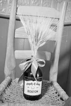 Wheat & beer growler centerpieces | Blue Heron Restaurant | Blue Heron Weddings | Western MA Wedding Venues | Anna Sawin Photography