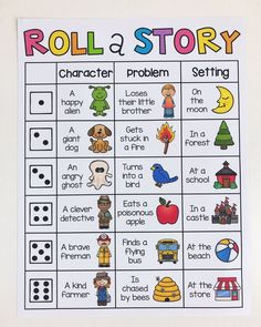 Roll a story writing center. Your students will have so much fun writing with these Roll-a-Story boards. Their creativity will be flowing after discovering which super fun character, problem and setting their story will be about. Writing Prompts For Kids, Cool Writing, Creative Writing, Writing Games For Kids, Art Games For Kids, Writing Lessons, Writing Process, Math Lessons, Kindergarten Writing