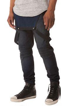 Elwood Pants Vintage Moto Denim Jogger Overalls Medium Blue - Karmaloop.com