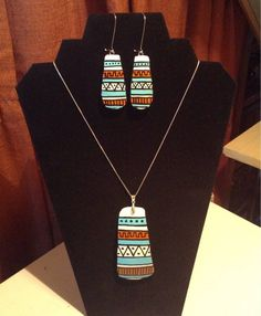 Native American geometric gourd necklace and earring set Handmade Jewelry, Unique Jewelry, Handmade Gifts, Teracotta Jewellery, Geometric Fashion, Gourd Art, Native American Jewelry, Polymer Clay Jewelry, Gourds