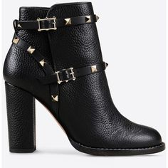 Valentino Rockstud bootie ($1,375) ❤ liked on Polyvore featuring shoes, boots, ankle booties, booties, zapatos, black, ankle boots, black ankle booties, high heel booties and high heel ankle boots