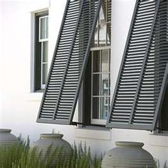 gray accents for window and pots: currently have these shutters on back porch--inspiration for using matching pots