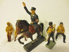 "Vintage LOT-GERMAN ELASTOLIN Toy Figures SOLDIERS ""LINEOL"" Composition NAZI ERA #LINEOL"