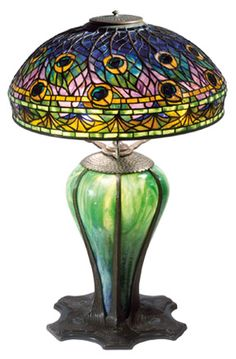 Tiffany Peacock Library Lamp. Circa 1905  Photo: The Neustadt Collection of Tiffany Glass, New York City