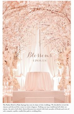 An indoor forest of Cherry Blossoms created at the Parker Palm Springs.