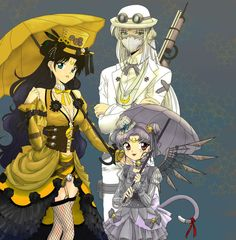 Steam Punk Sailor Moon cats color by CL-Pinkskull on deviantART