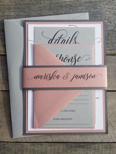 Wedding Invitations Grey and Dusty Rose Mauve Grey and Pink