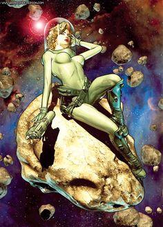 Risultati immagini per retro sci fi girl Science Fiction Art, Pulp Fiction, Space Girl, Space Age, Pulp Art, Sci Fi Fantasy, Illustrations, Book Illustration, Cultura Pop