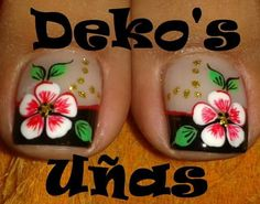 Trabajos de este Spa, que son una obra de arte... Deko's SPA                                                                                                                                                                                 Más Toe Nail Color, Toe Nail Art, Feet Nails, My Nails, Fancy Nails, Pretty Nails, Cute Pedicure Designs, Cute Pedicures, Flower Nail Art