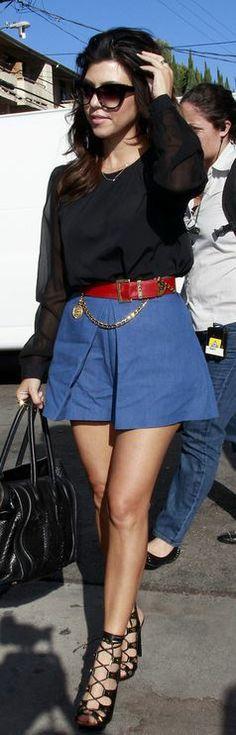 Kourtney Kardashian: Sunglasses – Kardashian Kollection  Belt – Chanel  Shoes – Tom Ford  Purse – Celine