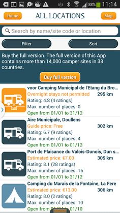 *** Now in use by 100,000 motorhome owners! *** <p>With this Campercontact-app (trial) you can quickly find a motorhome parking place, motorhome-friendly campsite or service centre. You have access* to the largest database in Europe with motorhome sites in 38 countries (mainly Europe). Extensive search and filter options help you find the correct site in the vicinity of your current location or in the area in which you would like to stay. Amongst other things, you can select by country…