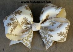 Ivory and Gold Glitter Snowflake Hair Bow www.gugonline.com $12.95
