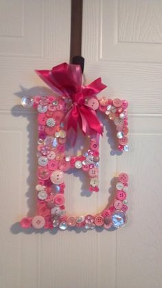 Initial Door Hanger With Vintage Buttons by lizBsstationeryshop