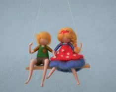 Couple on a swing, needle felted girl and boy dolls, possible to order separately, customizable