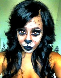 Kitty Cat Halloween Make-up a little to much haha but it looks good on her