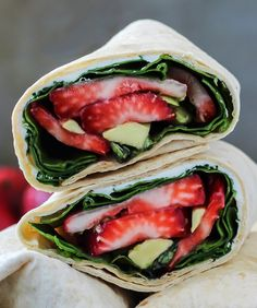 Strawberry basil avocado wraps