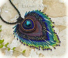 Peacock feather embroidered beaded necklace with by ElenNoel Bead Embroidery Art Bead Jewellery, Seed Bead Jewelry, Beaded Jewelry, Wire Jewelry, Etsy Jewelry, Bead Embroidery Jewelry, Beaded Embroidery, Beaded Crafts, Jewelry Crafts