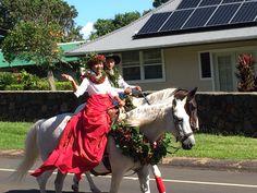 King Kamehameha Day parade, Kohala Hawaii. Island of Hawaii Keiki pa'u unit.