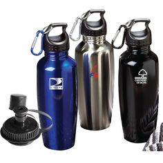 "Quench that need for a great promotional product for your next marketing campaign! This 25 oz. stainless steel bottle is both durable and eco-friendly. Features a detachable carabiner and comes with an additional sip lid for FREE! Great to have during outdoor adventures such as hiking and camping. Comes in black, blue or silver. FDA approved. Hand out at your next convention or tradeshow! 9.55""H x 2.625"" dia."
