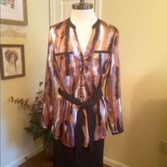 "Gorgeous Tunic This is a beautiful tunic by Kasper in a size Medium. Rich fall tones of Rust, Gold, Brown and Black. Solid black trim and fabric belt. Bust measures approx 19"" across. Tunic length at approx 28"". Mandarin collar. Long sleeves. Kasper Tops Tunics"