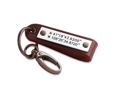 Personalized Leather Coordinates Key Chain  Latitude by diyjewerly