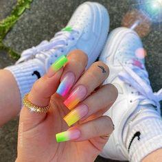 Rainbow Nails, Neon Nails, Swag Nails, Pink Nails, Neon Nail Art, Summer Acrylic Nails, Best Acrylic Nails, Summer Nails, Gorgeous Nails