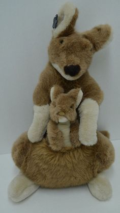 "Applause Bravo Camille Kangaroo Plush Mom & Baby Pouch Stuffed Animal 1988 17"" #Applause"