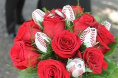 Baseball roses accepting bridal bouquet