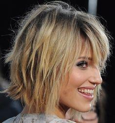 Side view of shaggy bob haircut