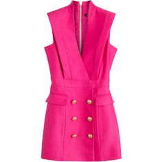 Balmain Crepe Tuxedo Dress ($3,419) ❤ liked on Polyvore featuring dresses, balmain, vestidos, short dresses, pink, short mini dress, short fitted dresses, pink fitted dress, pink tuxedo and fitted tuxedo