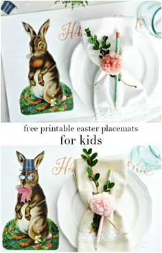 Free printable easter bunny gift tags printable game easter free printable easter placemats for kids vintage bunny that the kids can decorate with fun negle Image collections