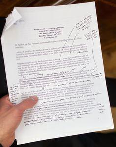 Obama's handwritten edits to a version of the 2012 SOTU Address. He has nice handwriting.