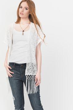 White Crochet Fringe Lace Kimono Top