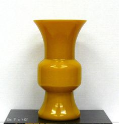 Chinese Yellow Peking Glass Wide Mouth Vase