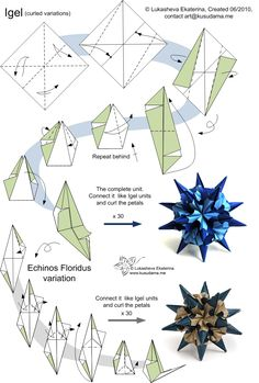 Kusudama Me! - Modular origami: Variaton of Spikes unit The lose peper is curled and creates the illusion of flowers