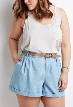 Jean pleated and cuffed high waisted shorts.  Tank top with a breast pocket keeps the outfit comfortable and cool.  Beautiful on women who wants to show off curves while staying cool. | @gaby_cantoo