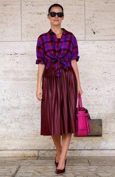 Pleated Marsala skirt