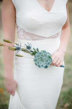 succulent and thistle bouquet