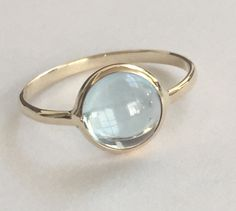 14k solid yellow gold and blue topaz cabochon gemstone ring, December birthstone