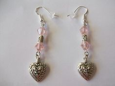 Pink Czech Crystals with Heart Drop. | juniquegoods - Jewelry on ArtFire